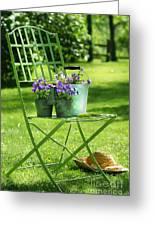 Green Garden Chair Greeting Card