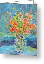 Green Glads Coral Glads Greeting Card