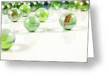 Green Glass Marbles Close-up Views Greeting Card