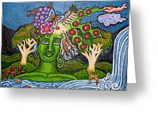 Green Goddesswith Waterfall2 Greeting Card