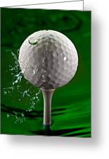 Green Golf Ball Splash Greeting Card