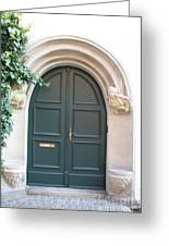 Green Guarded Door Greeting Card
