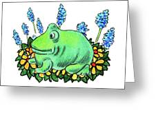 Green Happy Frog Greeting Card
