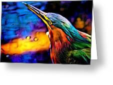 Green Heron In Dramatic Hues Greeting Card