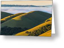 Green Hills And Low Clouds Greeting Card