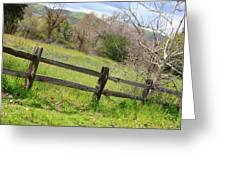 Green Hills And Rustic Fence Greeting Card