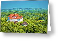 Green Hills Of Zagorje Region And Veliki Tabor Castle View Greeting Card