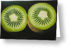 Green Kiwi Oil Painting  Greeting Card
