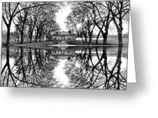 Green Lake Bathhouse Black And White Reflection Greeting Card