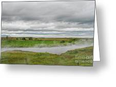 Green Landscape With Steamy River Greeting Card