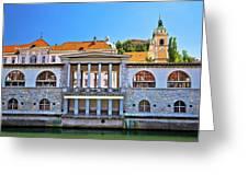 Green Ljubljanica Riverfront In Ljubljana Greeting Card