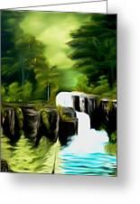 Green Mist Fantasy Falls Dreamy Mirage Greeting Card