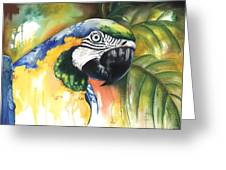 Green Parrot Greeting Card by Anthony Burks Sr