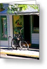 Green Parrot Bar Key West Greeting Card by Susanne Van Hulst