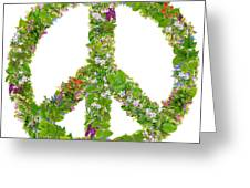 Green Peace Symbol From  Spring Plants Greeting Card