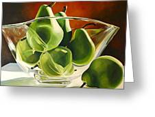 Green Pears In Glass Bowl Greeting Card