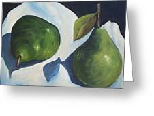 Green Pears On Linen - 2007 Greeting Card
