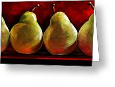 Green Pears On Red Greeting Card