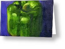 Green Pepper On Linen Greeting Card