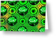Green Polka Dot Roses Fractal Greeting Card