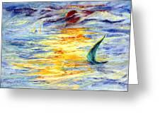 Green Sail At Sunset Greeting Card