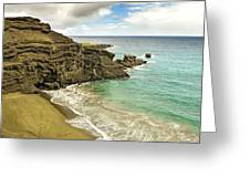 Green Sand Beach On Hawaii Greeting Card by Brendan Reals