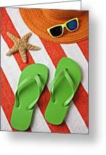 Green Sandals On Beach Towel Greeting Card