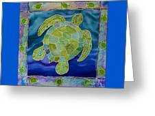 Green Sea Turtle Silk Painting Greeting Card