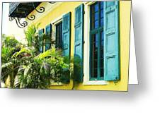 Green Shutters Greeting Card by Debbi Granruth