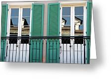 Green Shutters Reflections Greeting Card