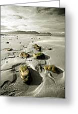 Green Stones On A North Wales Beach Greeting Card