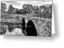 Green Street Bridge In Black And White Greeting Card by Wayne Marshall Chase
