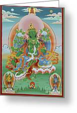 Green Tara With Retinue Greeting Card