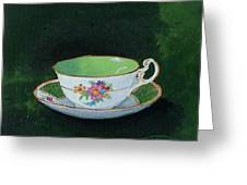 Green Teacup Greeting Card