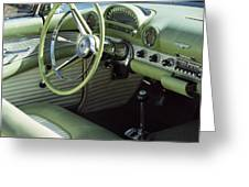 Green Thunderbird Wheel And Front Seat Greeting Card