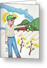 Green Tractor Hat Greeting Card