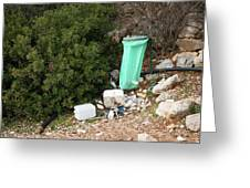 Green Trash Bag And Rubbish In Croatia Greeting Card