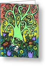 Green Tree With Purple Tulips Greeting Card