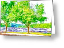 Green Trees By The Water 3 Greeting Card