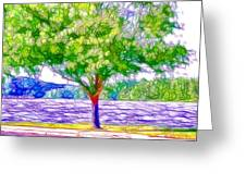 Green Trees By The Water  5 Greeting Card