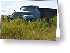 Green Truck In The Green Grass Greeting Card