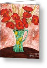 Green Vase And Poppies Greeting Card