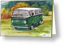 Green Vw Bus Greeting Card