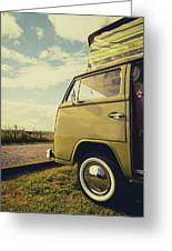 Green Vw T2 Camper Van 02 Greeting Card