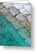 Green Water Blocks Greeting Card