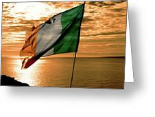 Flag Of Ireland At The Cliffs Of Moher Greeting Card