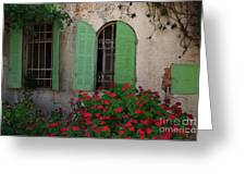 Green Windows And Red Geranium Flowers Greeting Card