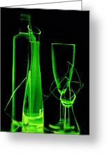 Green Wine Glasses And A Bottle Greeting Card