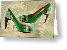Green With Envy Pumps Greeting Card