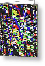 Green Yellow Blue Red Black And White Abstract Greeting Card